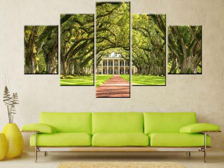 Oak Alley Plantation 5 Panel Split Art