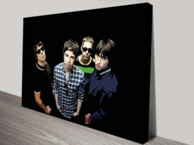 Oasis pop art black canvas print