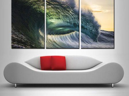 Buy Ocean's Might 3-Panel Canvas Wall Art