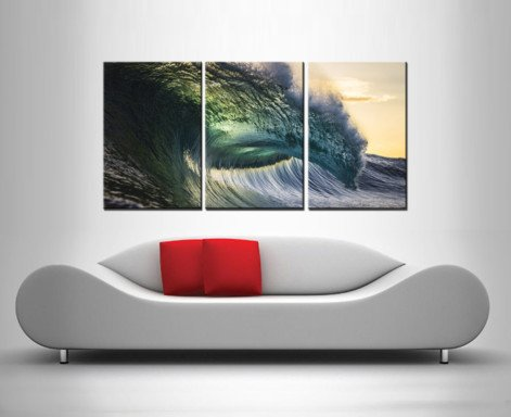 oceans might 3 panel wall art