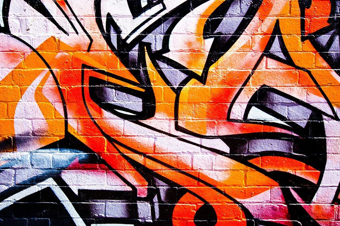Orange Abstract Street Art Canvas Framed Graffiti Artwork Australia