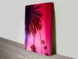 Palm Trees Blush Wall Art Canvas Art Print Photo