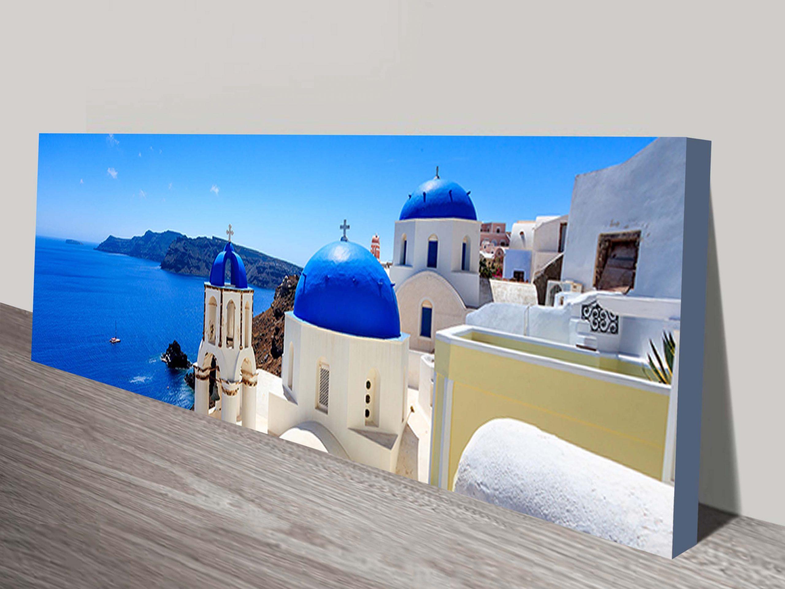 Santorini Blue Domed Church canvas Print