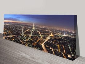 Paris Night Panoramic Canvas Wall Art