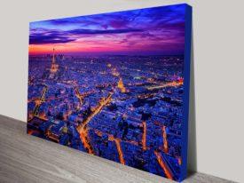 Paris dusk city canvas print