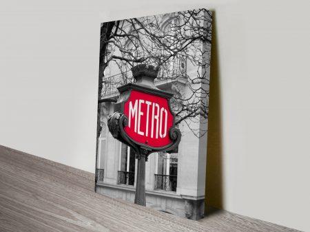 Paris Metro Black and White Canvas Print