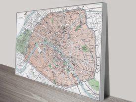 Paris Street Map Canvas Art
