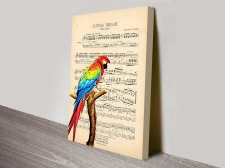 Parrot Song Sheet Canvas Wall Art Print Online