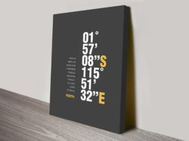 Perth Grey Coordinates Geographical Place Ready to Hang Print Australia