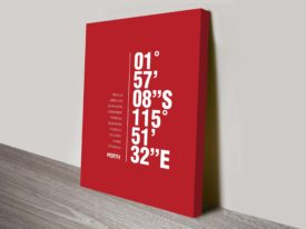 Perth Red Coordinates Longitude Latitude Ready to Hang Print Australia