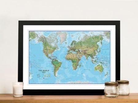 Physical World Map Framed Wall Art