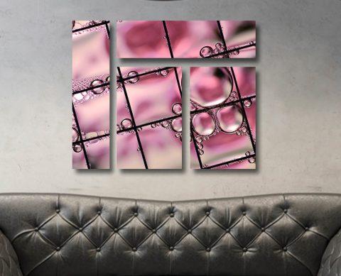 Pink Bubbles Mixed 4 Panel Canvas Print