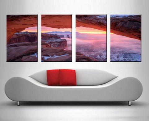 Pink Canyon Sunset 4 Panel