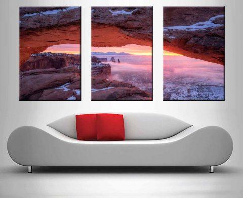 Pink Canyon Sunset 3 Panel