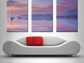 Pink Sky Reflection 3 Panel