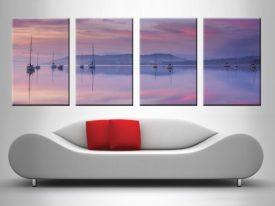 Pink Sky Reflection 4 Panel