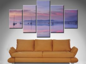 Pink Sky Reflection 5 Panel