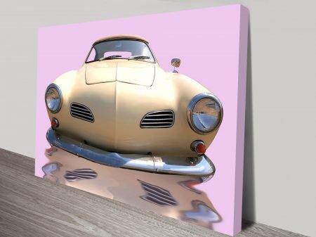 Vintage Pink Car Art Canvas Prints