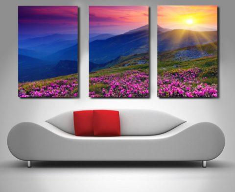 Pink fields triptych art set