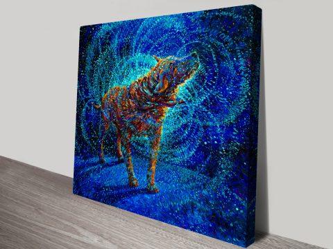 Polarized Iris Scott - Finger Painting Dog Canvas Wall Art