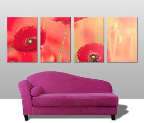 Poppy Dreams 4 Panel Canvas Art