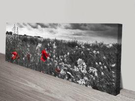 Poppy field Panoramic Photo Canvas Print