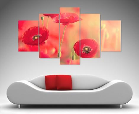 Poppy Glaze 5 Panel Canvas Art Printing