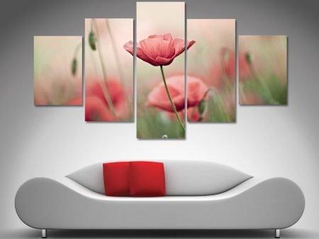 Poppy Haze 5 Panel Split Canvas