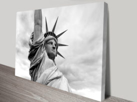 Portrait of Liberty Black and White Canvas Print