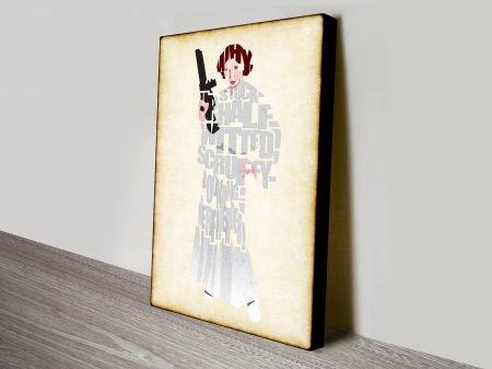 Princess Leia Typographic Star Wars Art Canvas Print