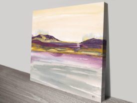 Purple Rock Dawn I Watercolour Chris Paschke Canvas Pictures