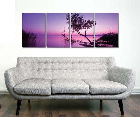 Purple Shores 4 Panel Sunset Photograph