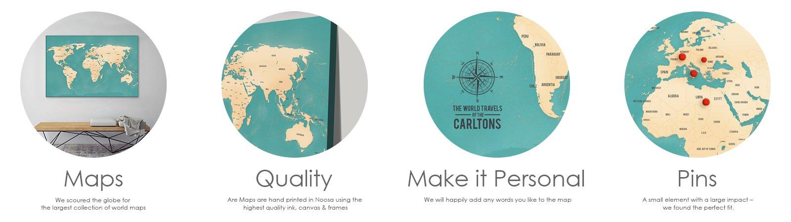 Push Pin World Travel Maps Art