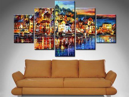 quiet town 5 panel wall art canvas print