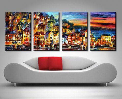 quiet town quad panel canvas print leonid afremov artwork