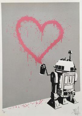 R2D2 HEART Graffiti Canvas Print