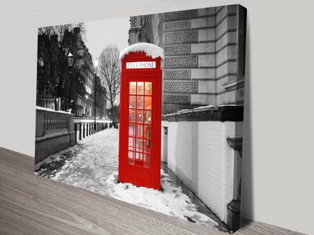 Old Telephone Box Black and White Canvas Print