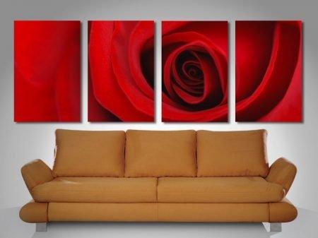 Red Rose 4 Panel Split Canvas Print