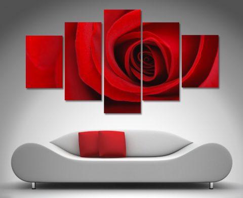 Red Rose Diamond Shaped Split Canvas