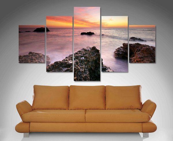 Rocky Bay Split Panel Seascape Art for Sale