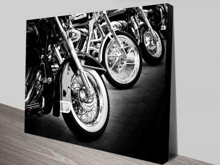 Black & White Motorbike Canvas Print