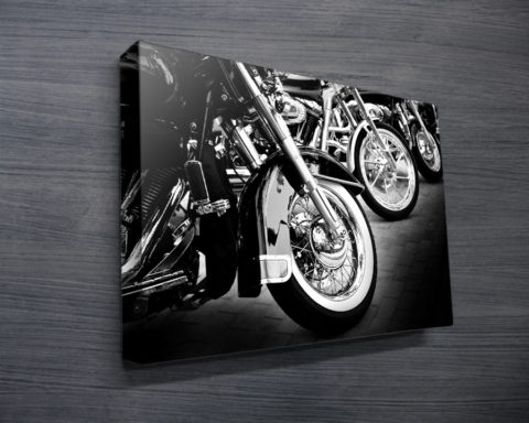 Black & White Motorbike Canvas Print