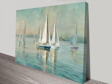Sailboats at Sunrise Crop on Canvas Print Arts Online