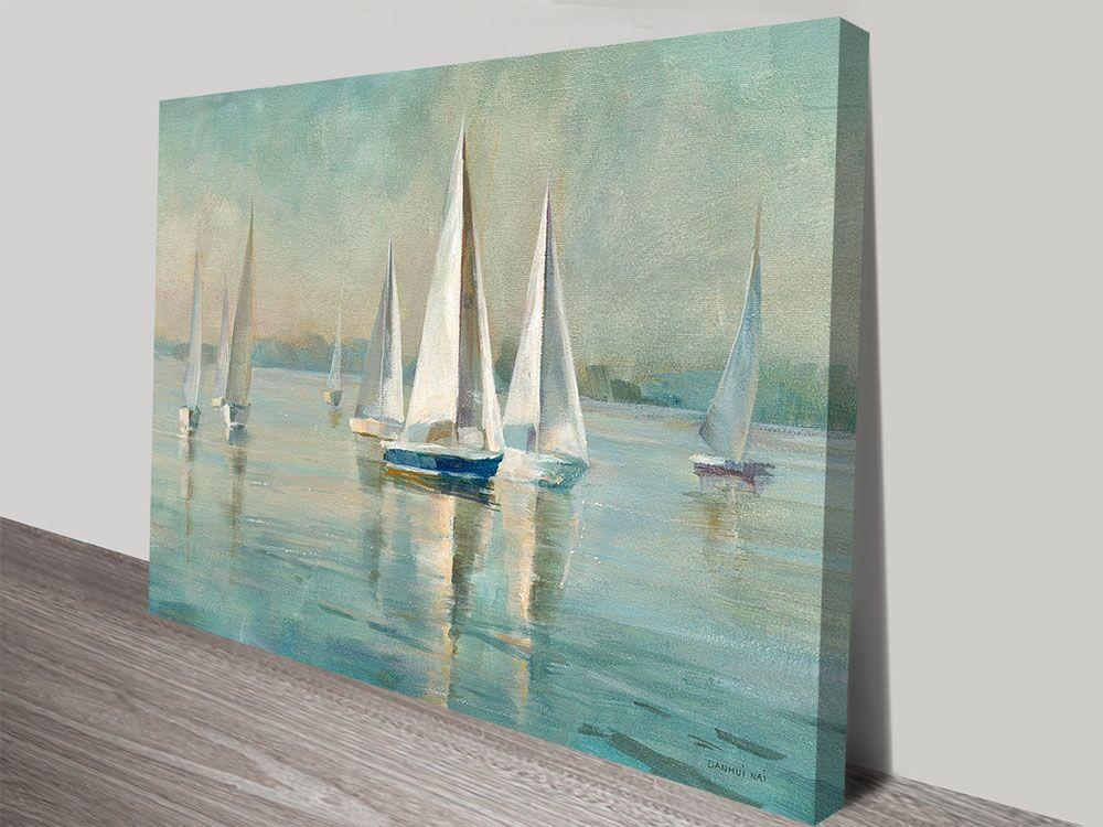Sailboats at Sunrise Nautical Canvas Art