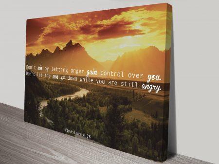 Ephesians 4:26 Bible Quote Motivational Inspirational Canvas Wall Art