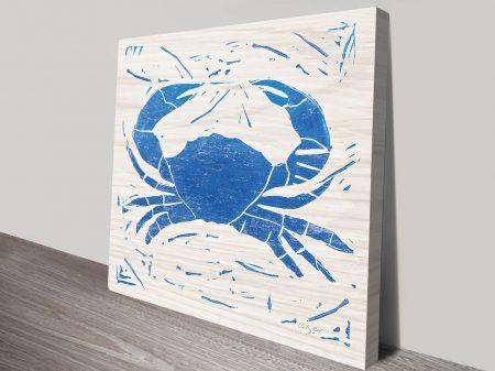 Sea Creature Blue Crab Artwork | Print on Canvas