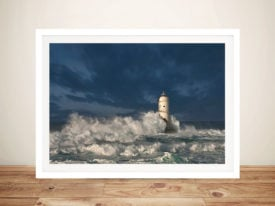 Sea Worn Lighthouse Stretched Photo Print on Canvas