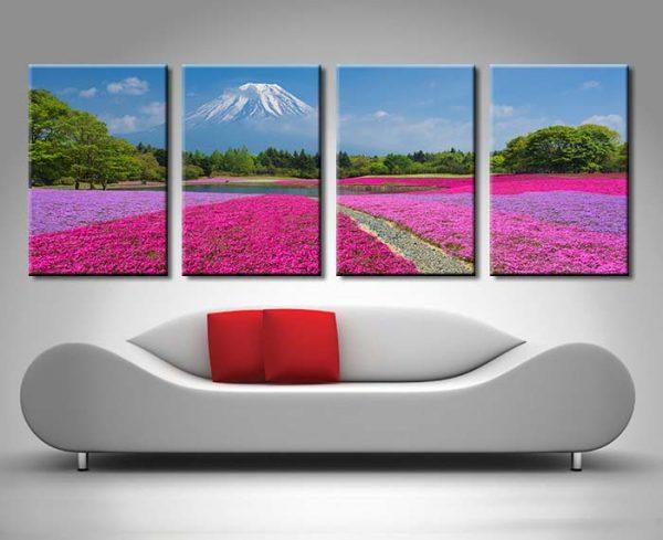 Shibazakura Flowers Fuji 4 Panel art