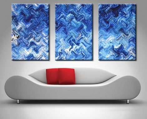 Shimmering Variation Abstract Triptych Art