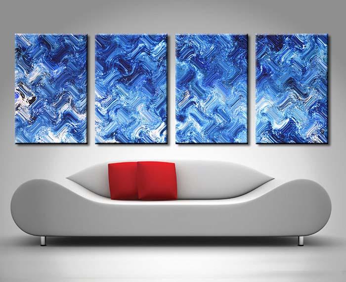 Shimmering Variation 4 Panel Wall Canvas by Xavier Alexander
